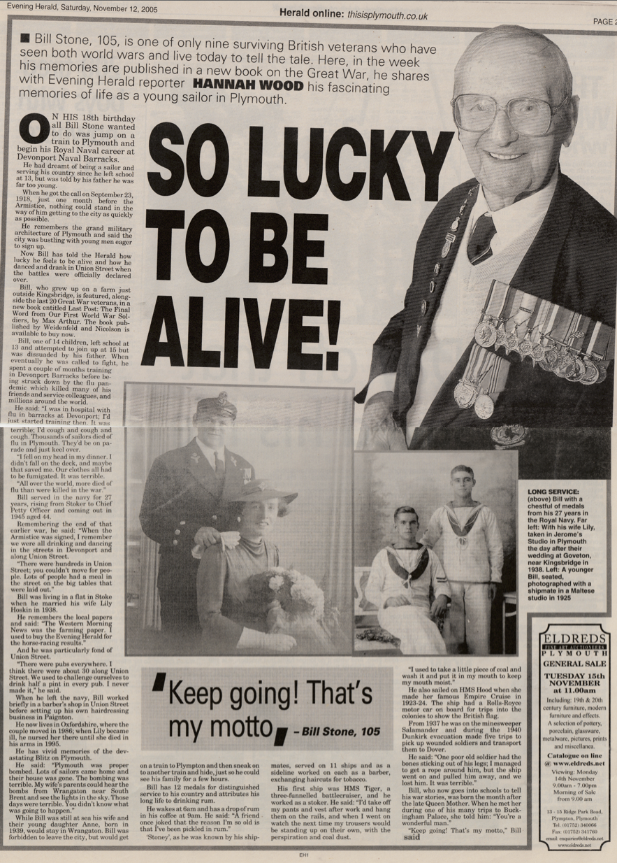 Interview with veteran of both world wars, Bill Stone, 105.