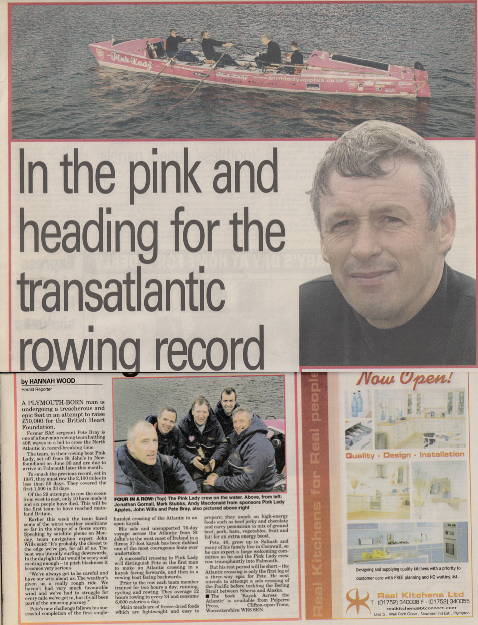 Record attempt to cross the Atlantic to raise £50,000 for charity.