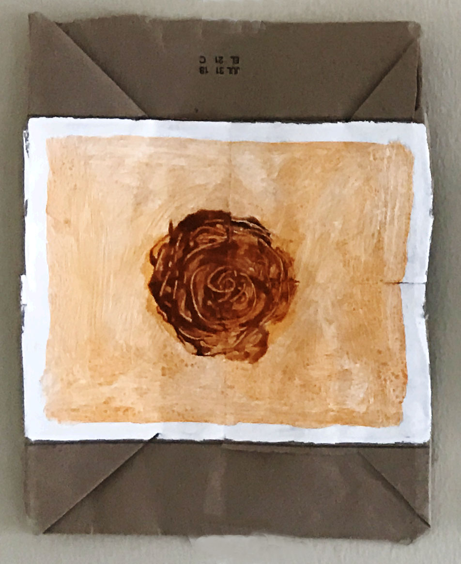 """""""Orange Rose"""" 2018 House paint on the bottom of paper bags"""