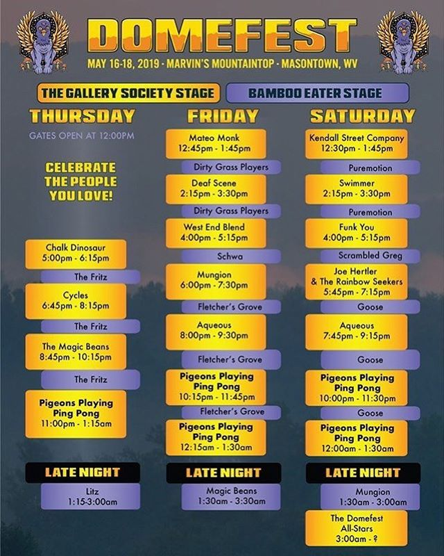 Full schedule for @domefestofficial is out now! We'll see you Friday in Masontown WV! #domefest 🙌🥁🏓🏓🏓