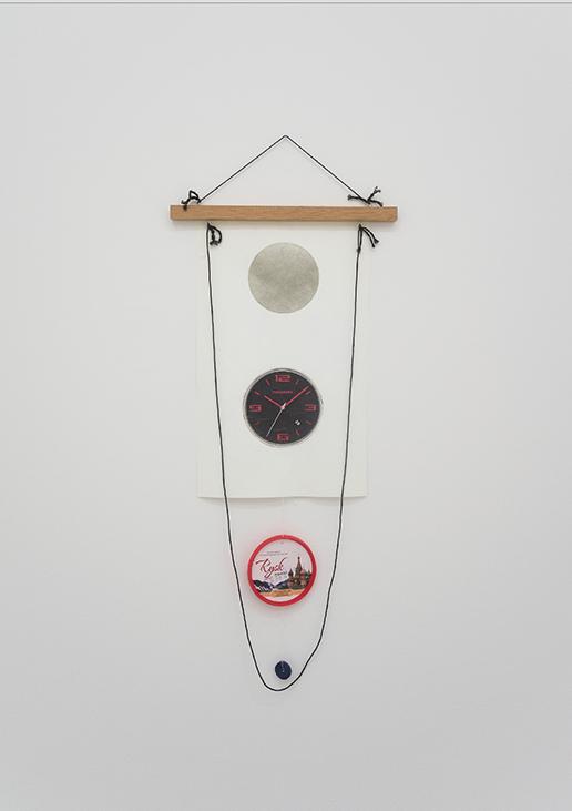 B. Wurtz, Untitled (Clock), 2012-13, Wood, string, thread, Tyvek, acrylic paint, collage, button and screw eyes, 90.2 x 33.7 cm