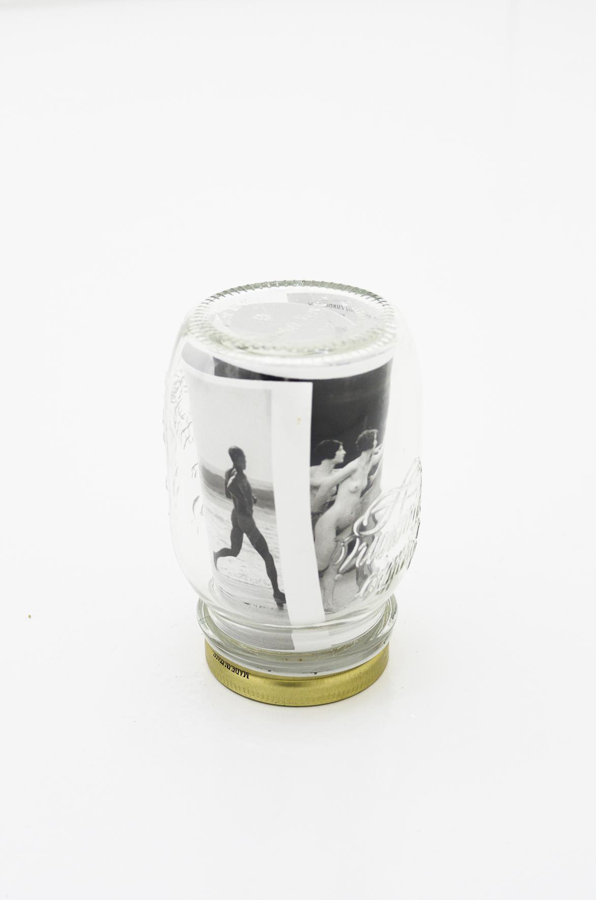 The Recipe (Four Seasons), 2010, jar and postcards, 14 x 9 diam