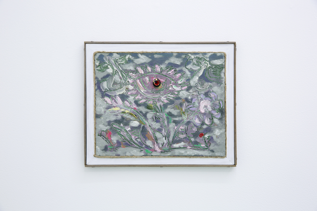 Evening Pink, 2016, Oil and plastic on plywood with artist made frame, 10 x 12 in