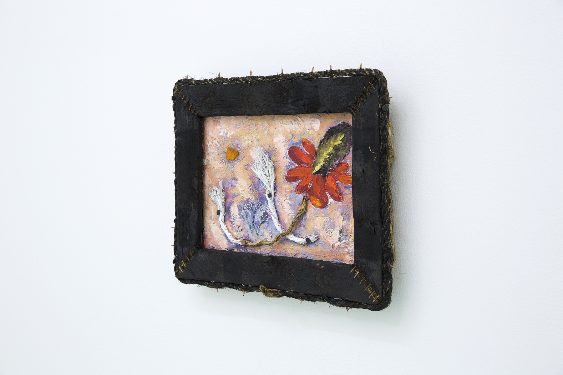 Wild Hair, 2016, Oil and objects on plywood with artist made rope and wood frame, 10 x 12 in