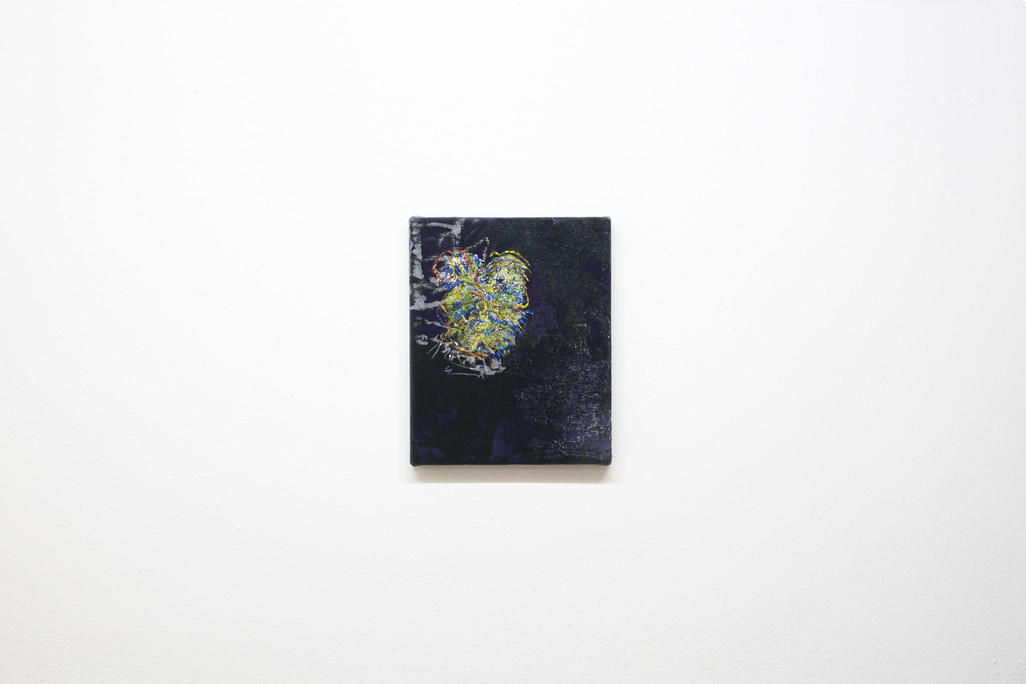 Anna Schachinger, Untitled, 2017. Acrylic medium, oil and acrylic paint on velvet, 22 x 27 cm (8.5 x 10.5 in.)