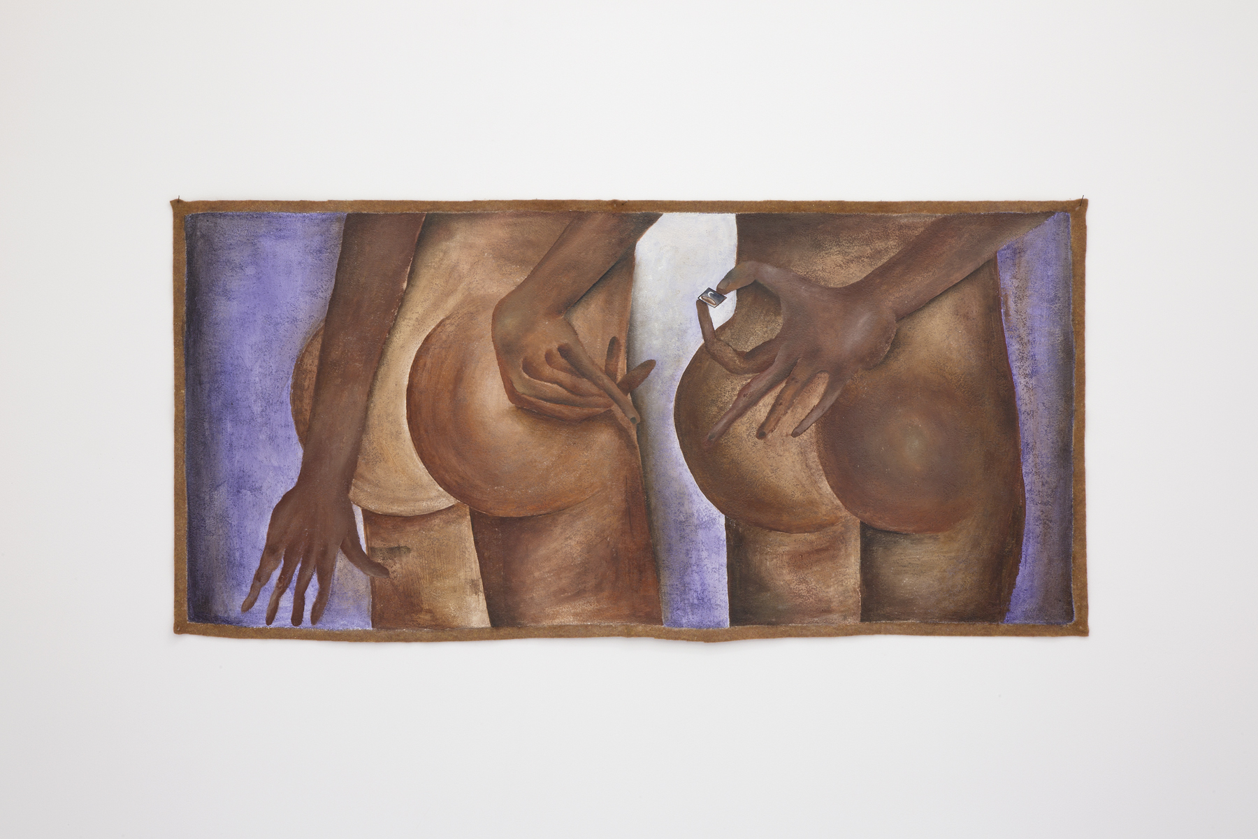 Santiago de Paoli, Mirá esta pintura, 2017. Óleo en fieltro, 95 x 45 cm (37.5 x 17.5 in.)