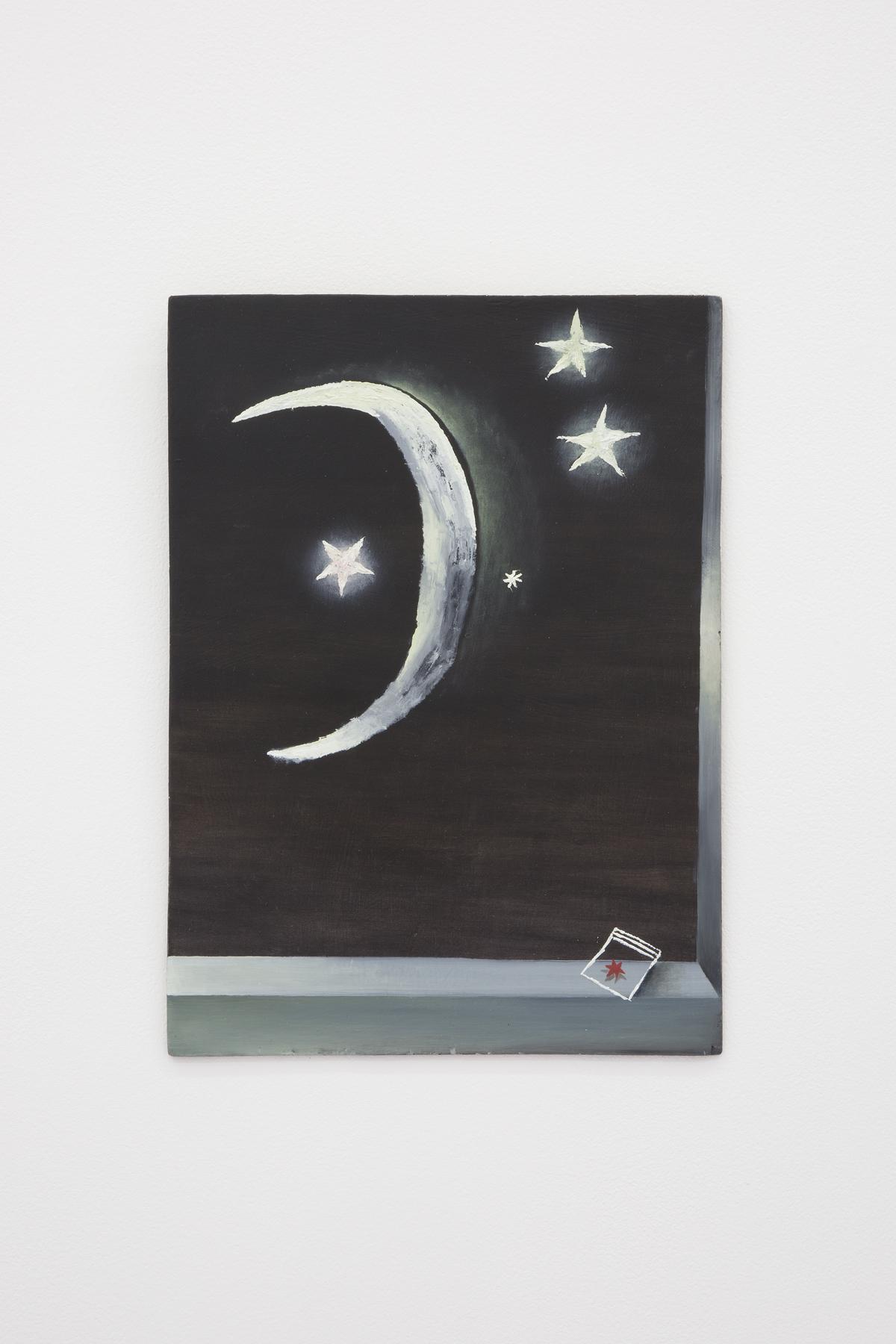 Santiago de Paoli, Luna y estrellas, 2017. Óleo en madera, 24 x 33 cm (9.5 x 13 in.)