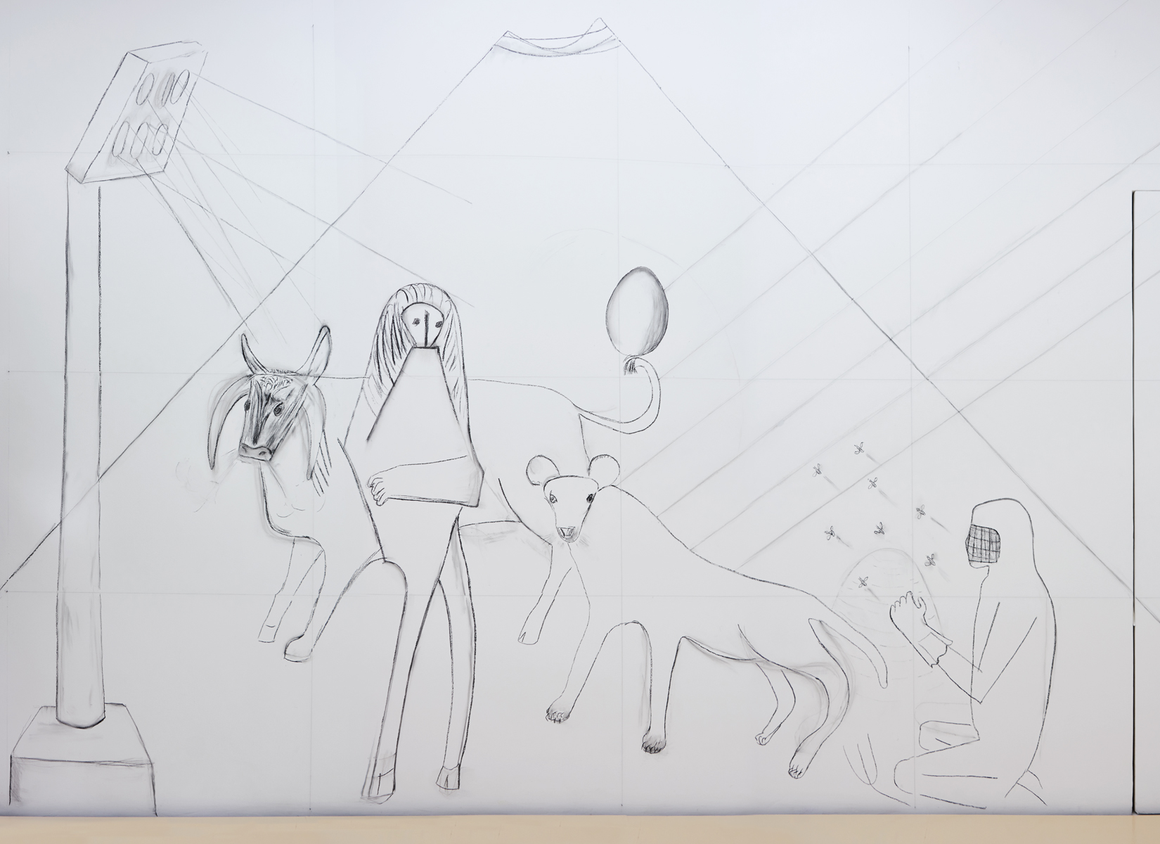 Lin May Saeed, Mural, 2017. charcoal drawing in situ, Dimensions variable