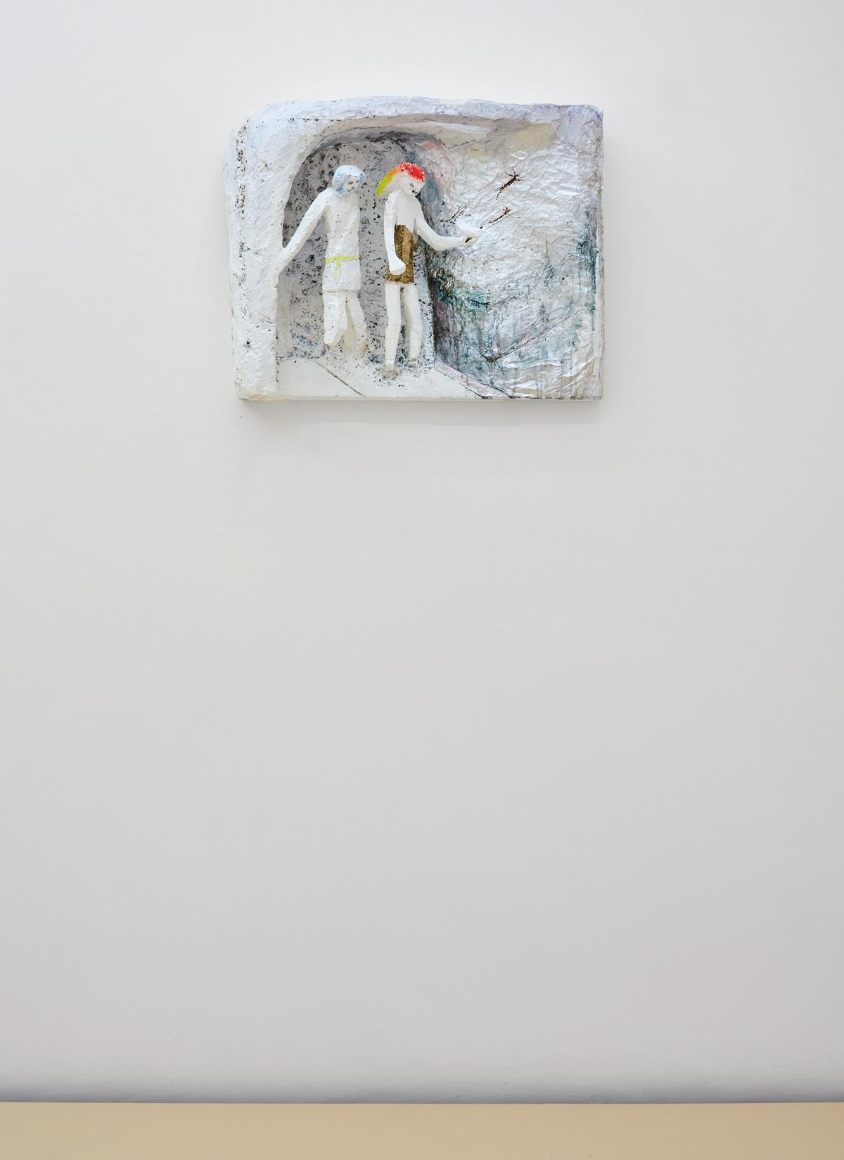 Lin May Saeed, Freundschaft/Friendship relief, 2010. Styrofoam, acrylic paint, foil, 45 x 57 x 15,5 cm