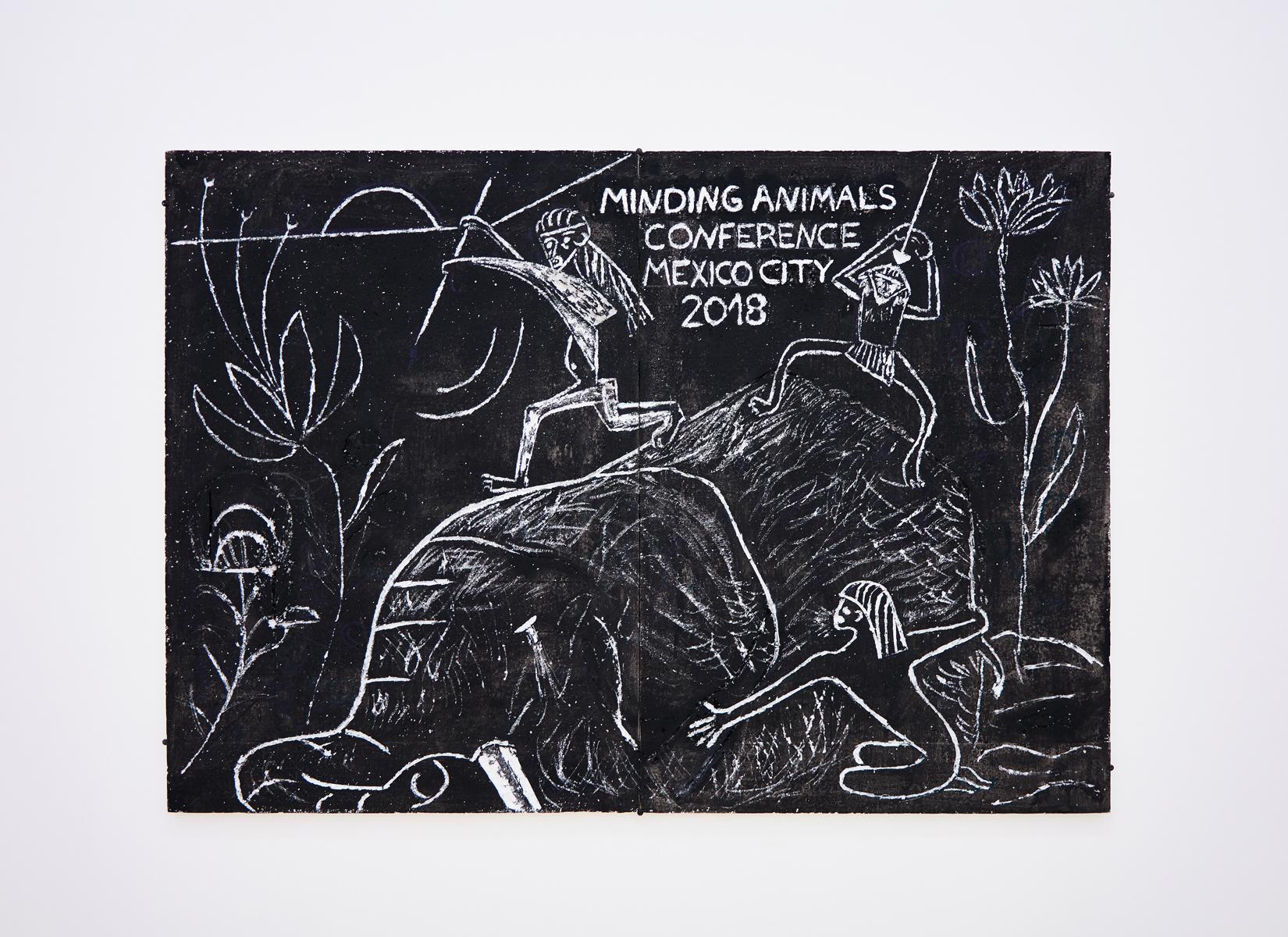Lin May Saeed, Mammoth relief, 2017. Styrofoam, acrylic paint, cardboard, 56 x 80 x 5 cm