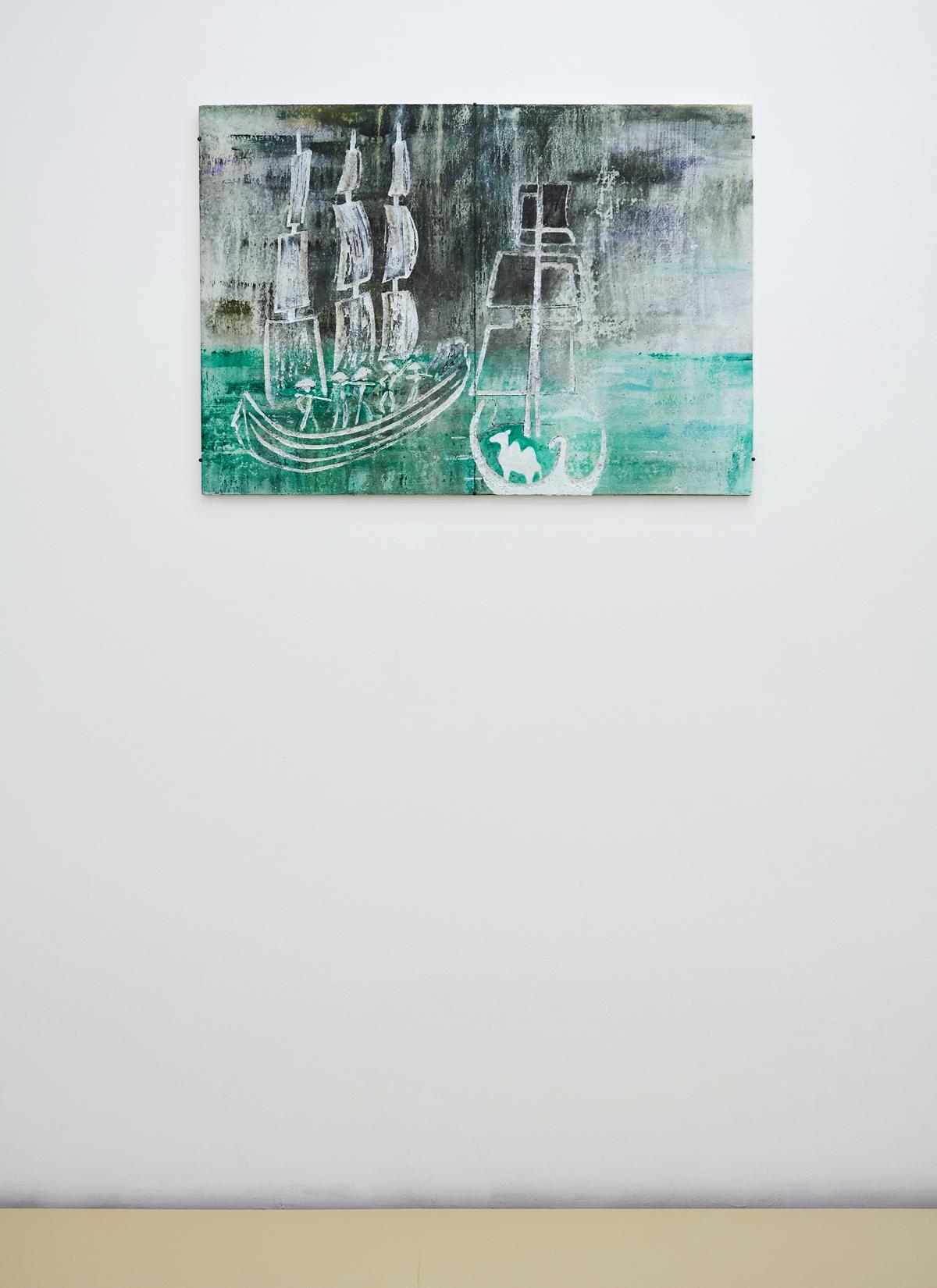 Lin May Saeed, Djamil Relief, 2017. Styrofoam, acrylic paint, cardboard, 56 x 80 x 5 cm