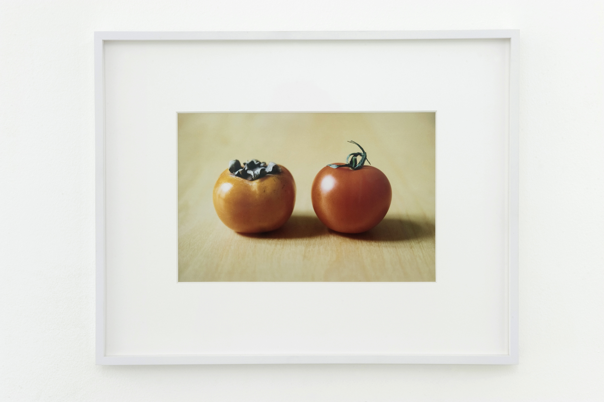Shimabuku, Kaki and Tomato, 2008. framed c-print on aluminium, frame 36.6 x 46.2 cm; 14.4 x 18.1 in; without frame 18.8 x 28.4 cm; 7.4 x 11.1 in.