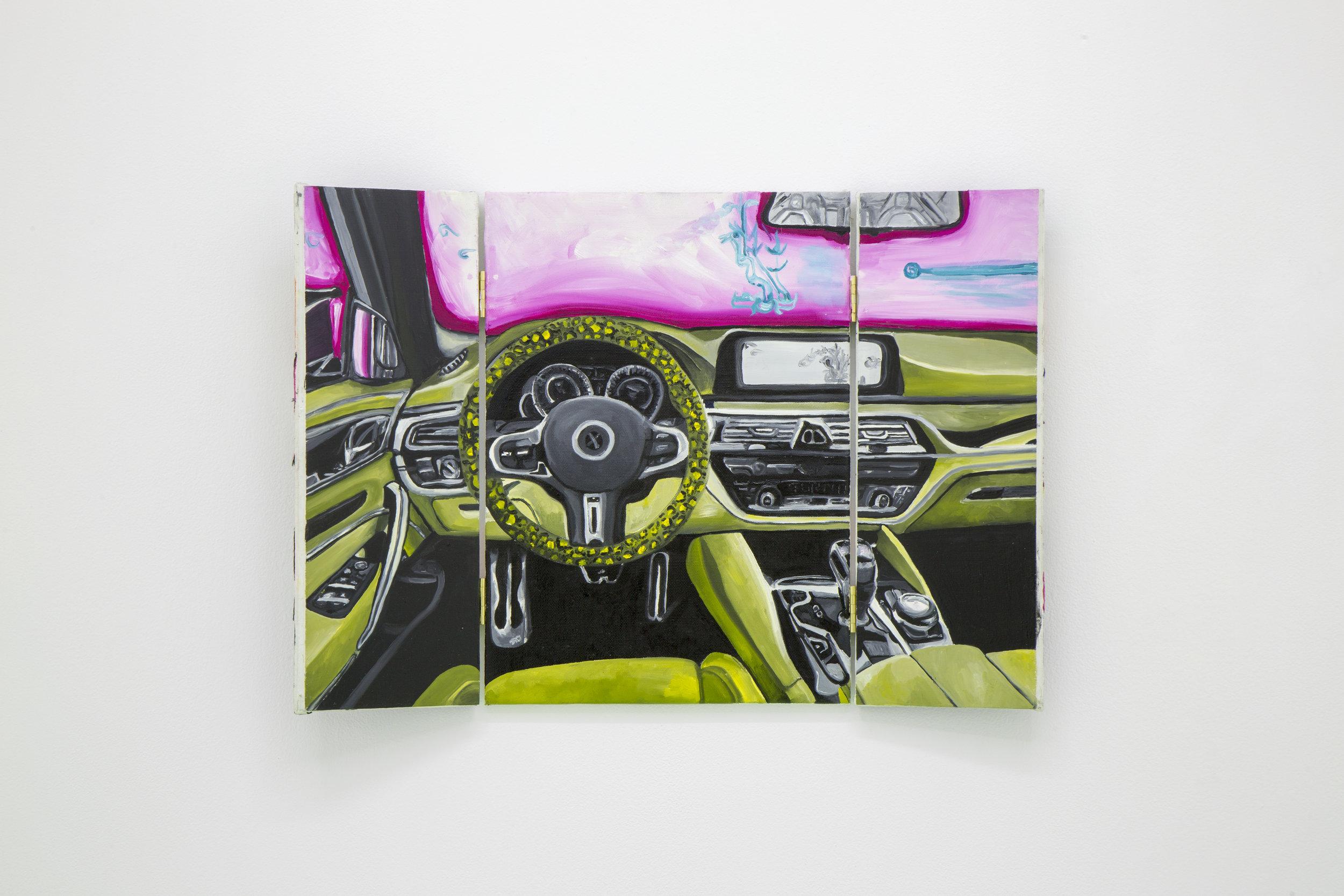 Frieda Toranzo Jaeger,  Retrato de lo inocente , 2018. Oil on canvas and embroidered thread, 61.5 x 42.3 cm; 25.39 x 16.54 inches.