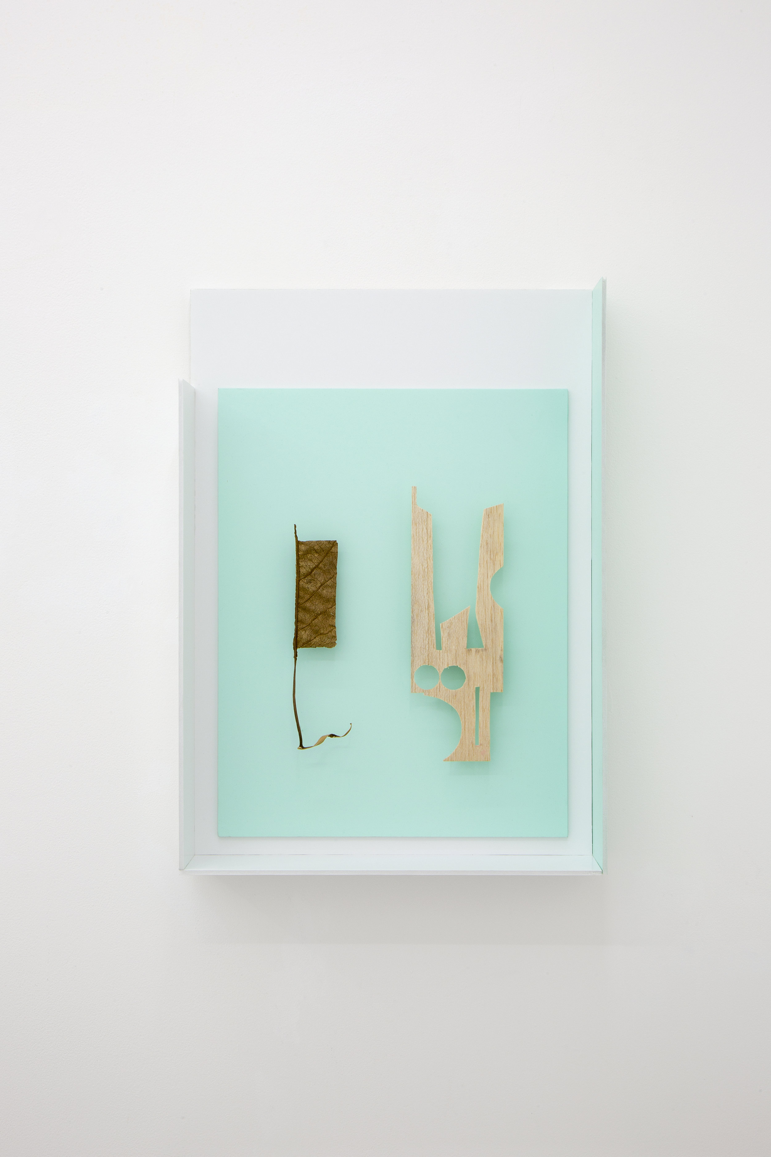 Christian Camacho, La práctica de las decisiones (the practice of choices), 2018.  foamboard, lacquer, balsa wood, dried and sealed leaf, adhesives, steel pins 45.4X63.5X10 cm 17.87X25X3.93 inch