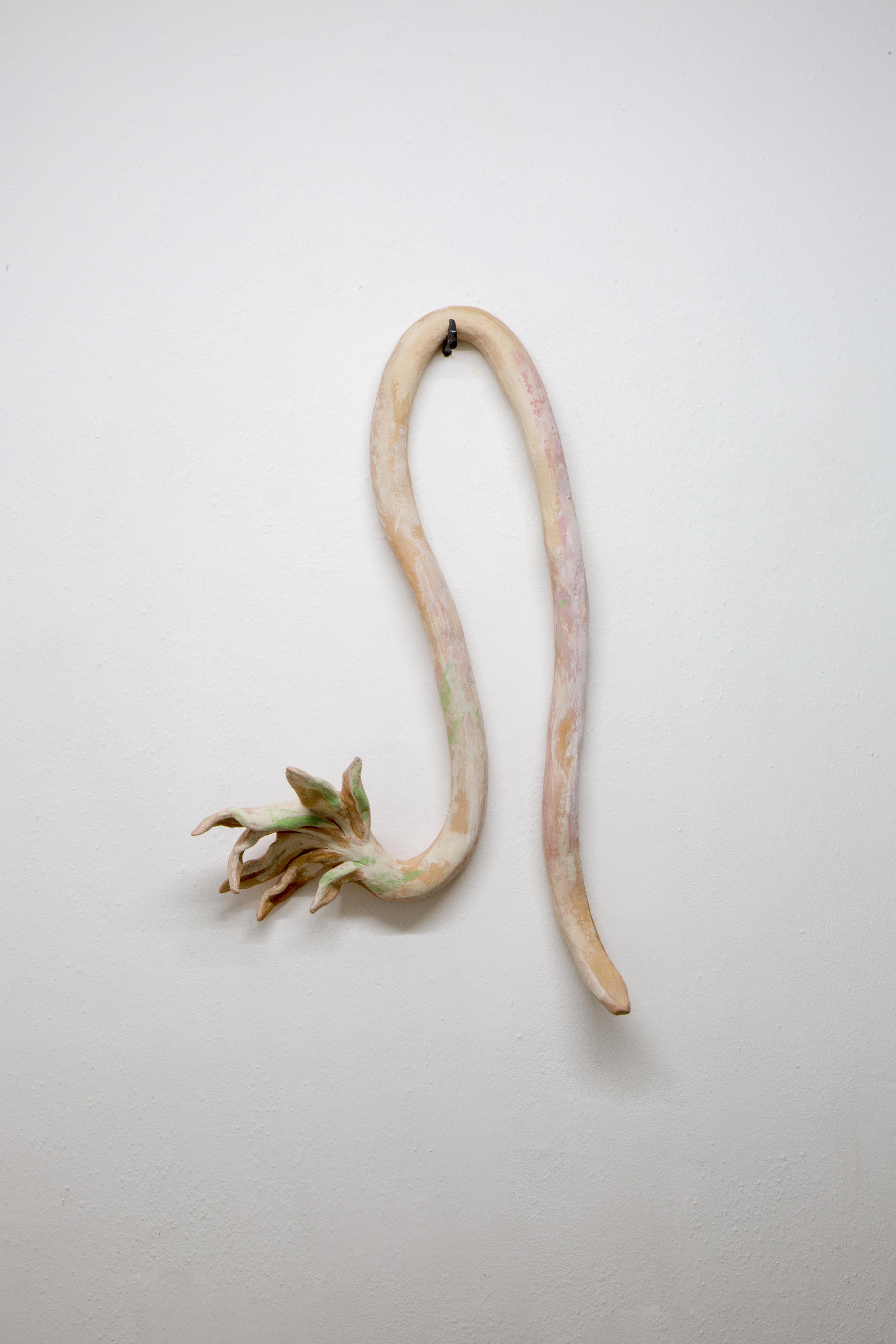 Lorena Ancona, Orquidea y Serpiente, 2018.  Low temperature ceramic, latex, pigments, lime.