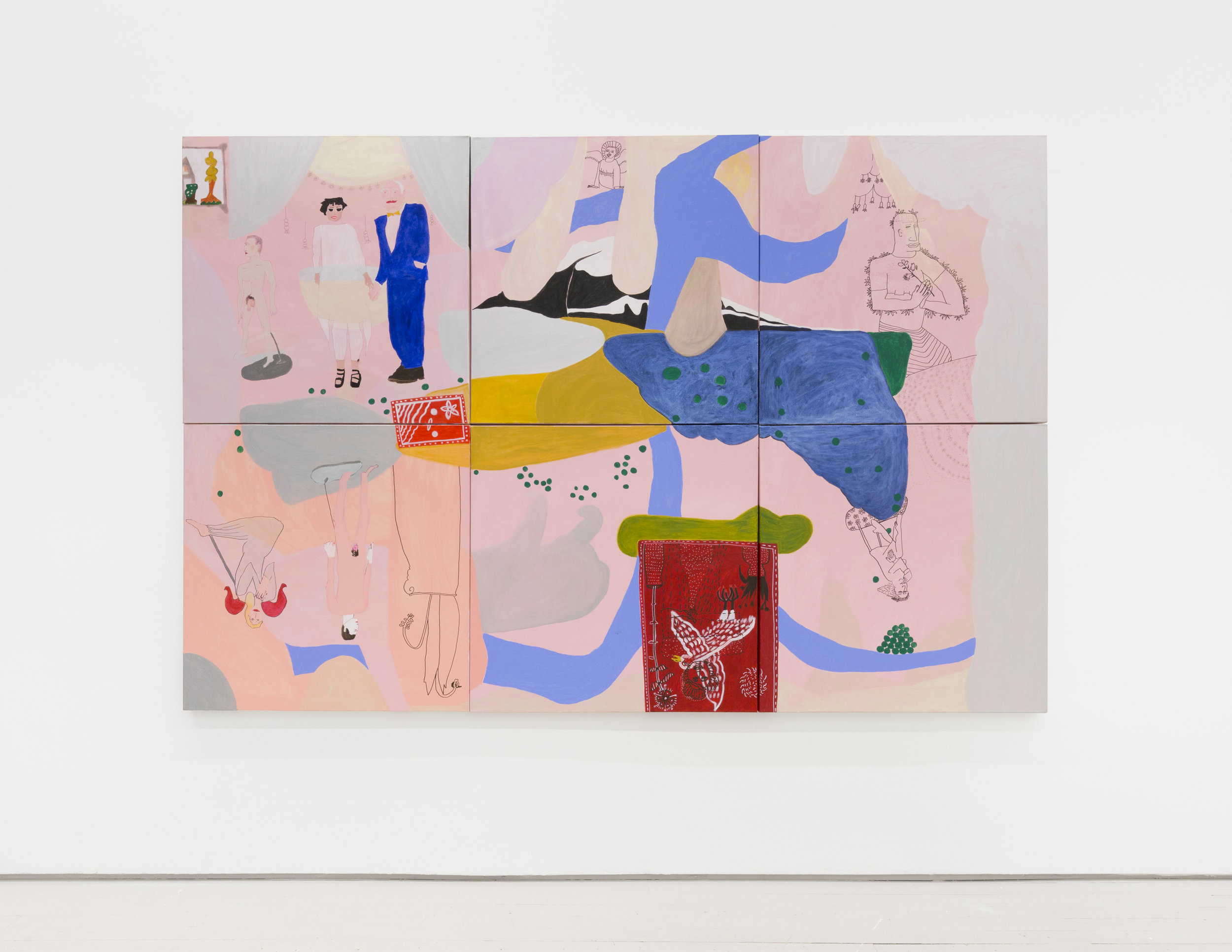 Susan Wick The Art Collectors (Large 6 part panel), 2014 Acrylic on canvas 36 x 36 x x6 in (91.4 x 91.4 x 15.2 cm)