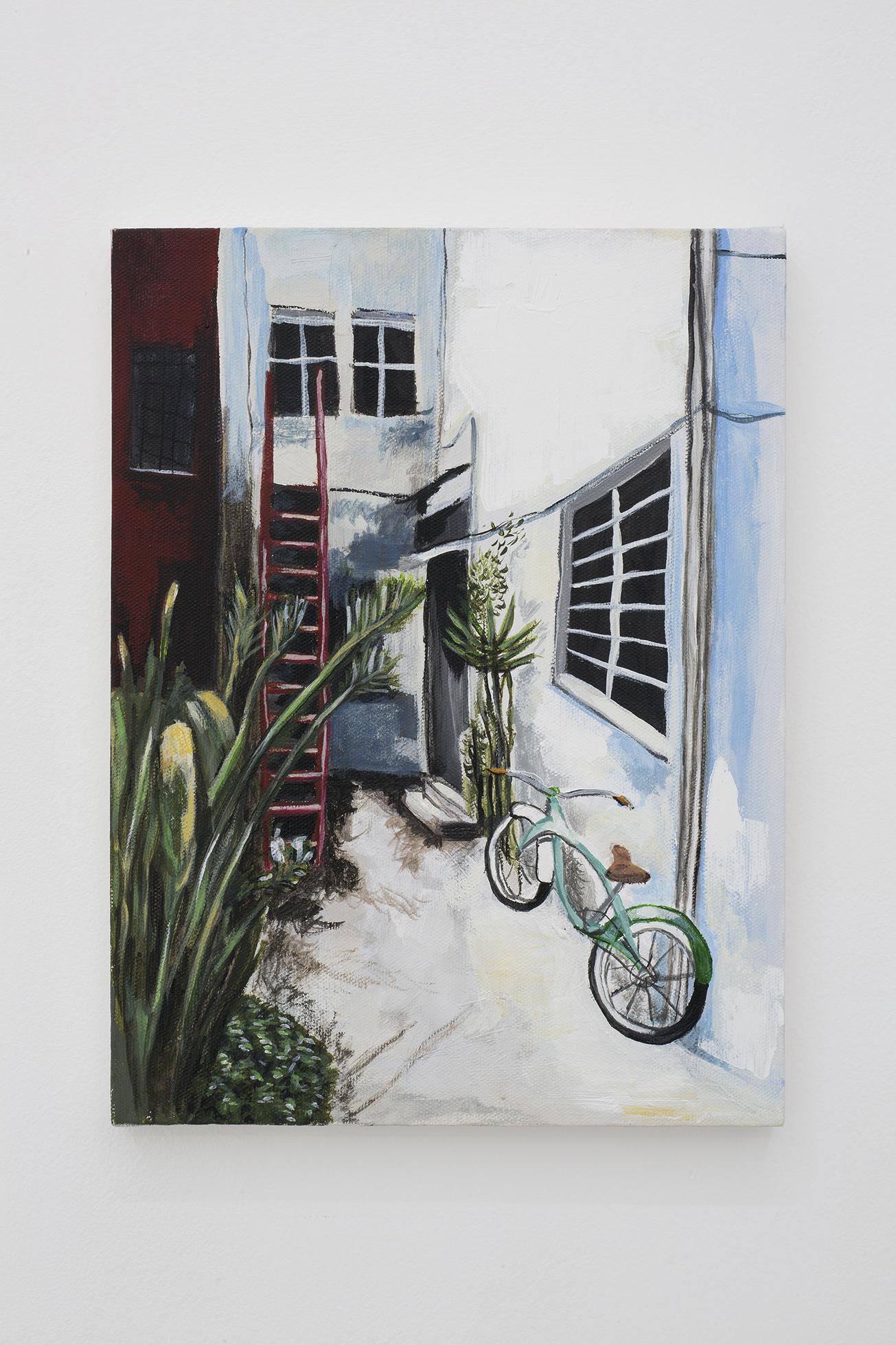 Shana Sharp, Bycicle, 2018. Acrylic on canvas. 9 x 12 inch (22.86 x  30.48 cm)