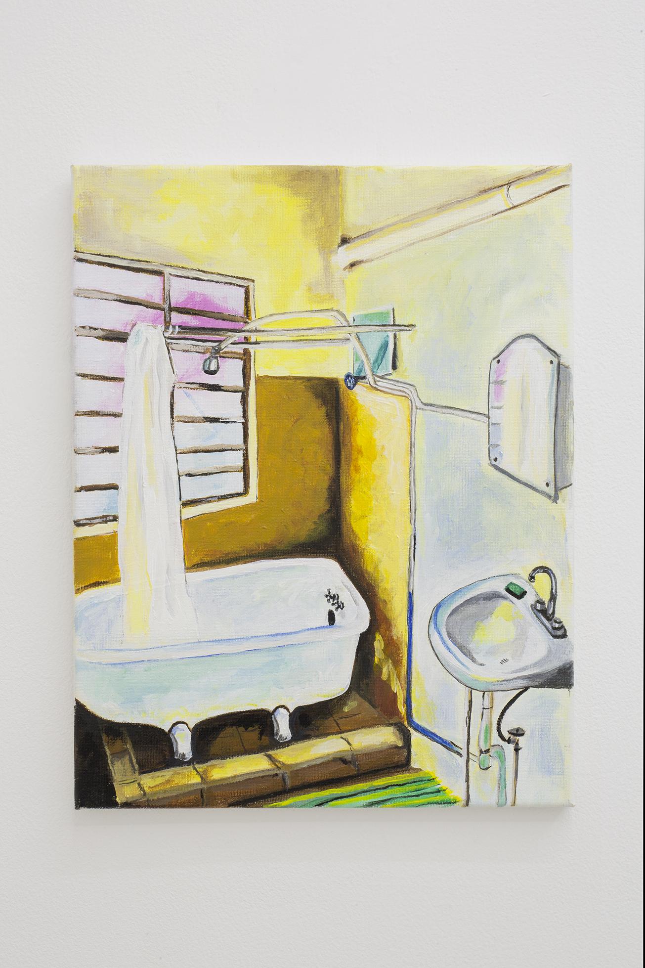Shana Sharp, The Shower, 2018. Acrylic on canvas.  11 x 14 inch (27.94 x 35.56 cm)