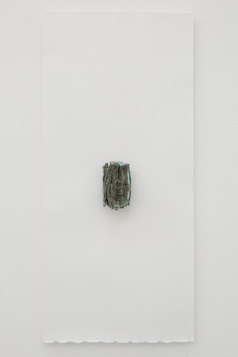 Yuji Agematsu,  019.04.03. AM11:34-AM11:37 Garibaldi y Tepito,Allende St. H de Granadita St. I. López Rayon St,  2019. Bar soap on foam board backed paper,. Board: 20 x 9 in (50.8 x 23 cm), work: 3 x 1 1/8 (7.6 x 3 cm)