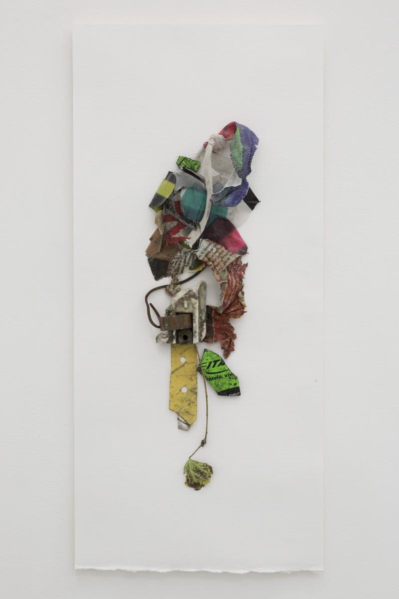 Yuji Agematsu,  2019.04.01.PM1:53-PM2:20 La Merced Mer- cado Sonora ,  2019. Mixed media on foam board backed paper. Board: 20 x 9 in (50.8 x 23 cm), work: 13 1/4 x 3 3⁄4 in (33.6 x 9.5 cm)