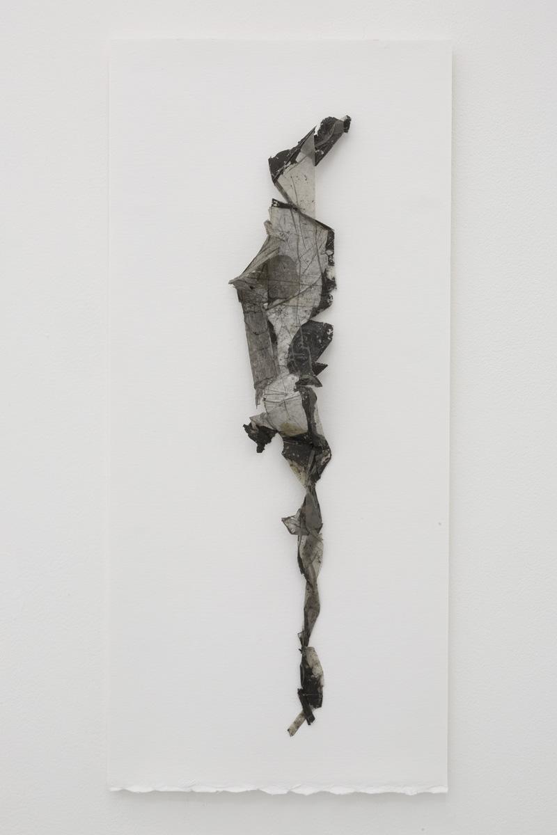 Yuji Agematsu,  2019. 04. 05 AM 10:55 Acayucan St.,  2019. Paper and plastic on foam board backed paper.Board: 20 x 9 in (50.8 x 23 cm), work: 16 1/2 x 3 1⁄4 (42 x 8.2 cm)