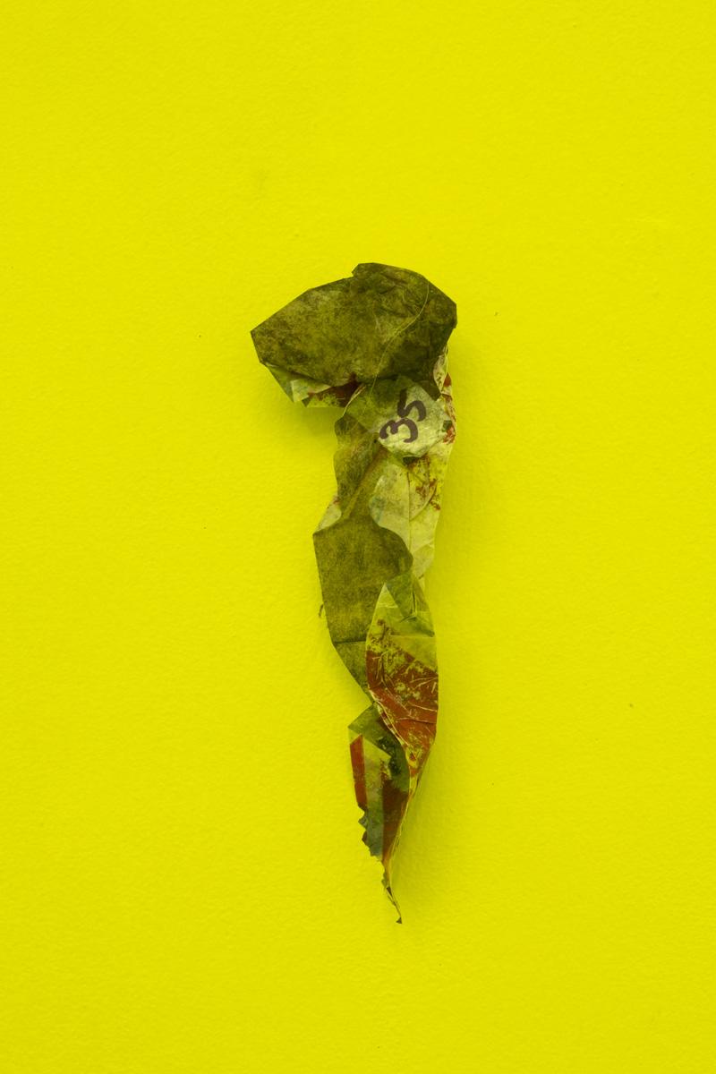 Yuji Agematsu,  2019.04.03 11:34 AM / 3:01 PM. Garibaldi Tepito,  2019. Plastic. 6.2 x 2.1 in (16 x 5.5 cm)