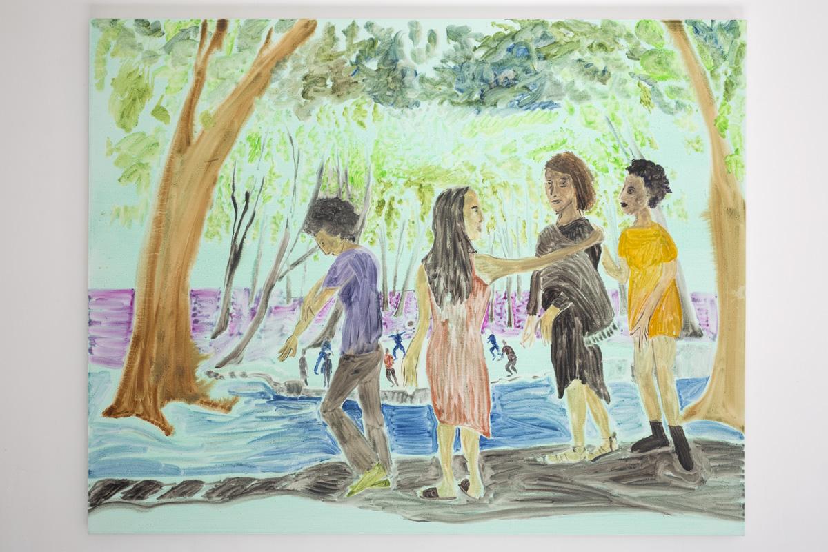 "Lea von Wintzingerode  ""invitation"",  2019. Oil on canvas, 120 x 151 .5 cm (47.2 x 59.6 in)"