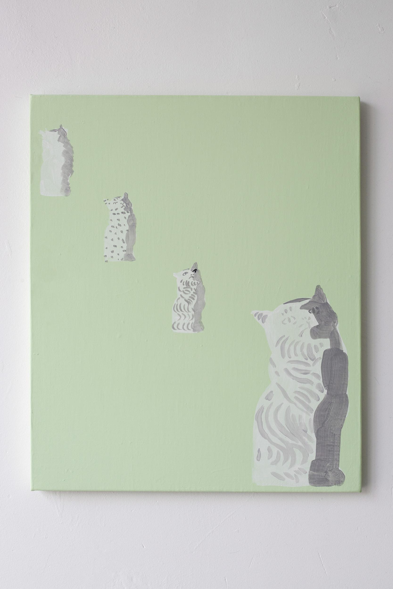Shimon Minamikawa  (Various) Cat (Figurines),  2019. Acrylic on canvas,45.6 x 38 cm