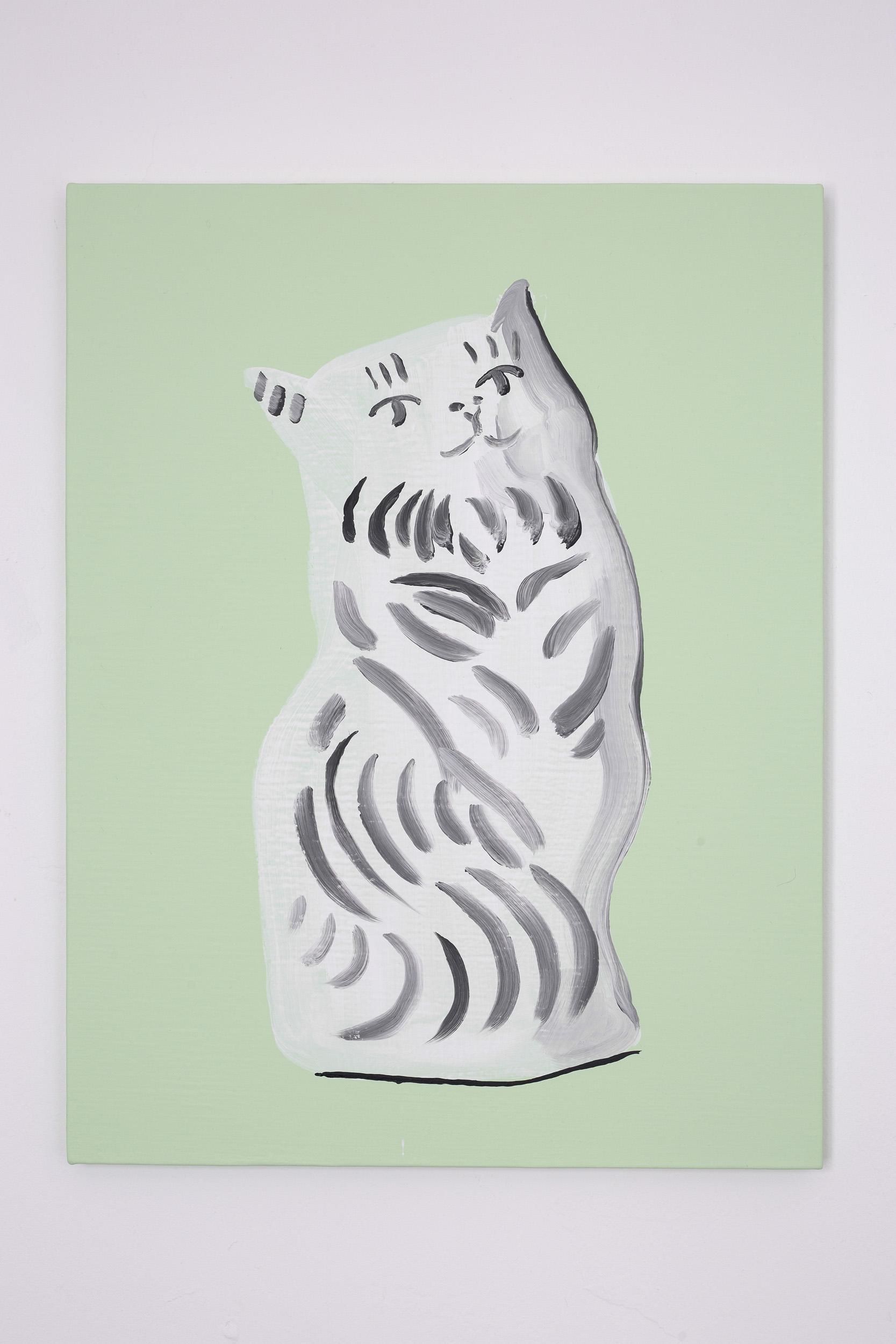 Shimon Minamikawa  (Various) Cat (Figurines),  2019. Acrylic on canvas, 53.1 x 41cm