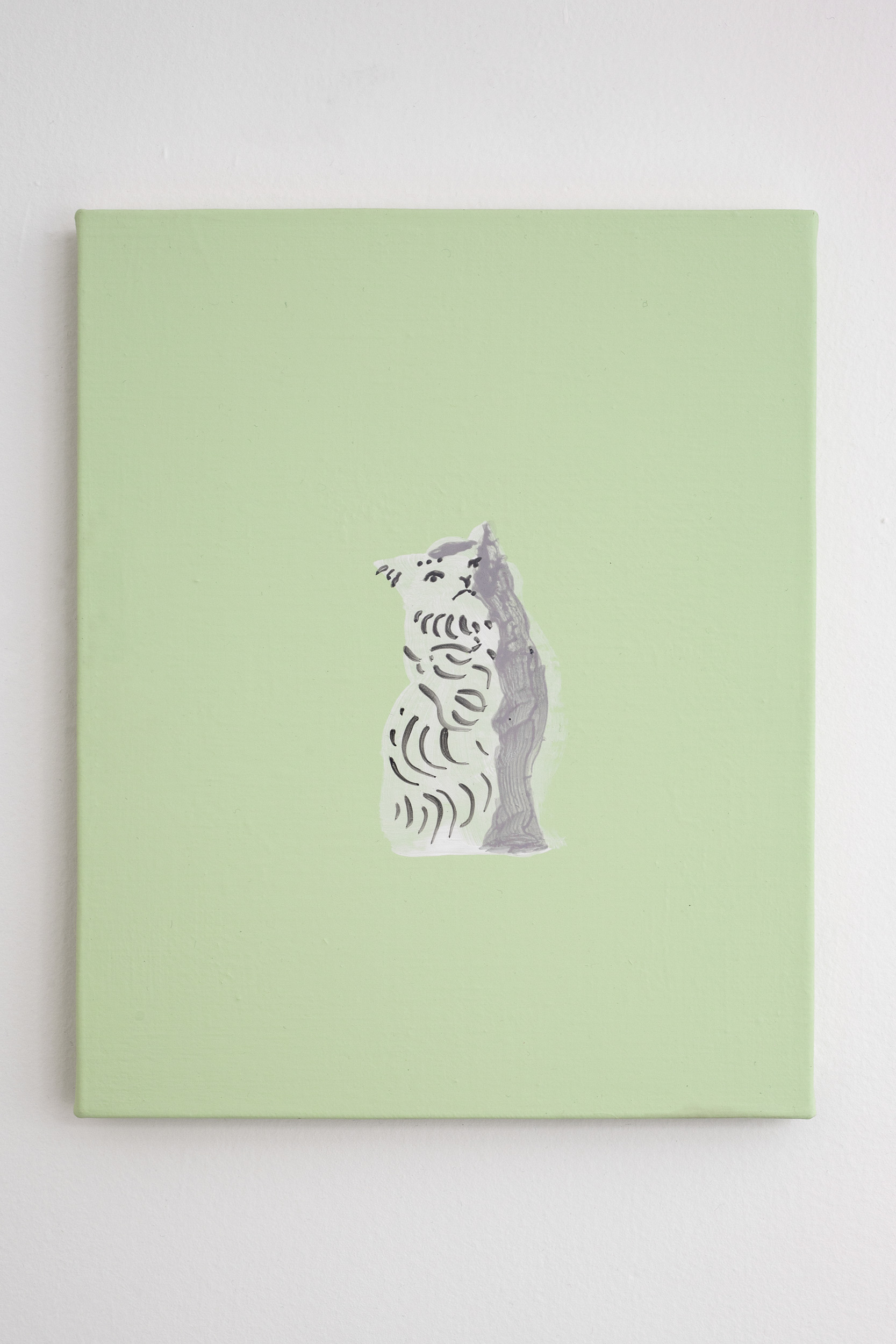 Shimon Minamikawa  (Various) Cat (Figurines),  2019. Acrylic on canvas, 27.5 x 22.2cm