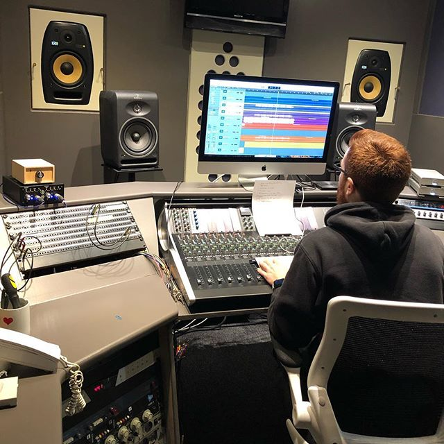 Mr @mw_audio tweaking the mix in our newly refurbished control room.  Get in touch if you need any mixing or mastering ;) #controlroom #studiolife #mixing #mastering #ssl #logic #logicprox #mac #apple #krk #focal #studioporn #audioengineer #mixengineer