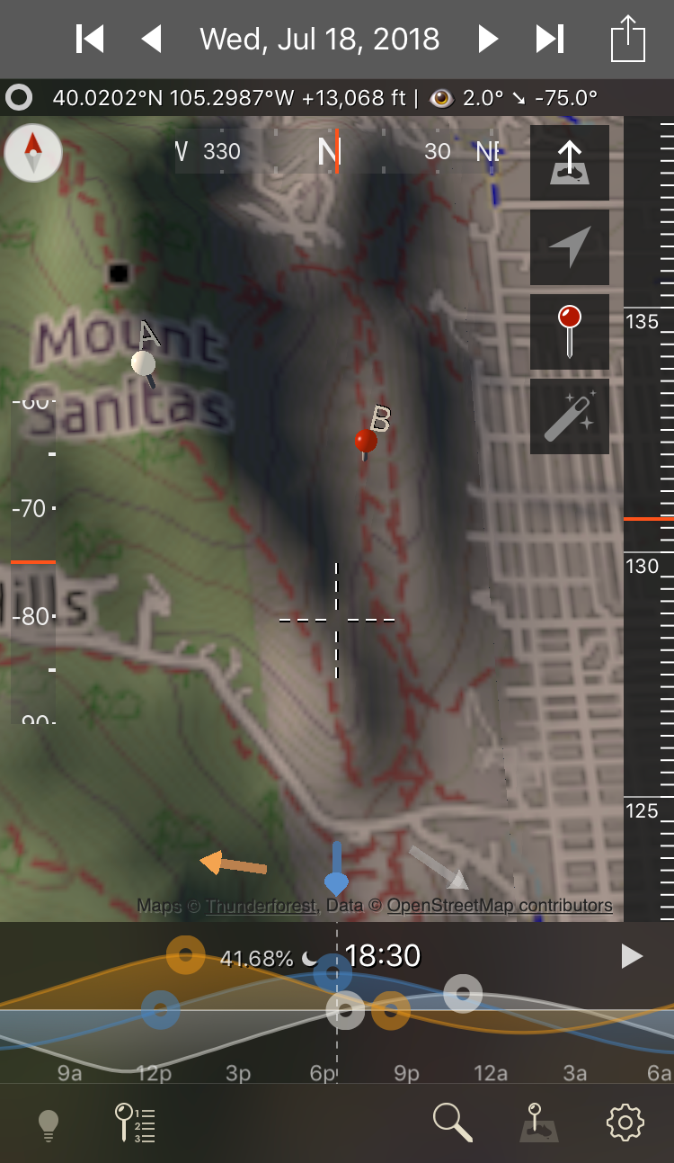 TPE-3D image of Sanitas Valley, with a simulation of light and shadow at 6:30pm Wednesday evening. The top of Dakota Ridge and the west side of Sanitas are illuminated, while the valley and east slopes are in shade. The orange arrow shows the direction of the sun.