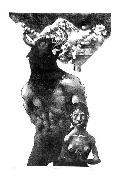 """""""Asterión"""" Litografia 57x38cm, 2004"""