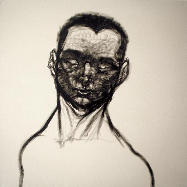 """""""Autorretrato más joven"""" óleo sobre tela 1x1 m, 2007"""
