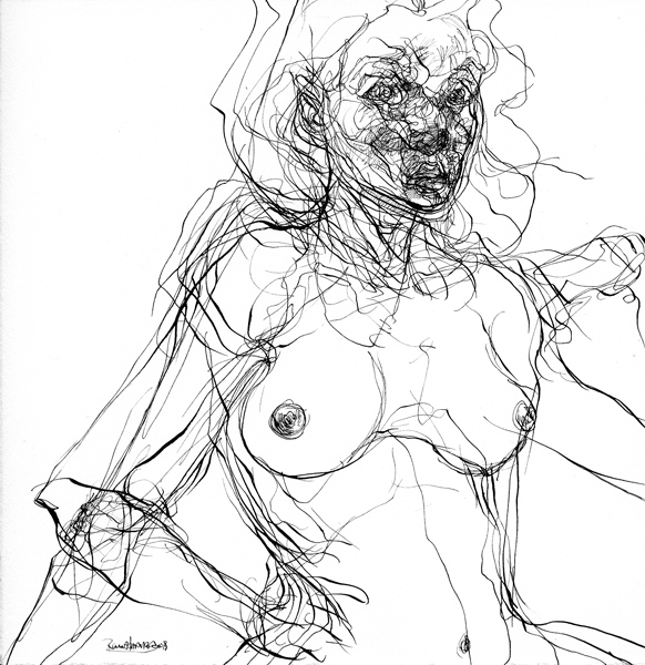 """""""En dos planos"""" tinta china sobre papel, 19x19 cm, 2007"""