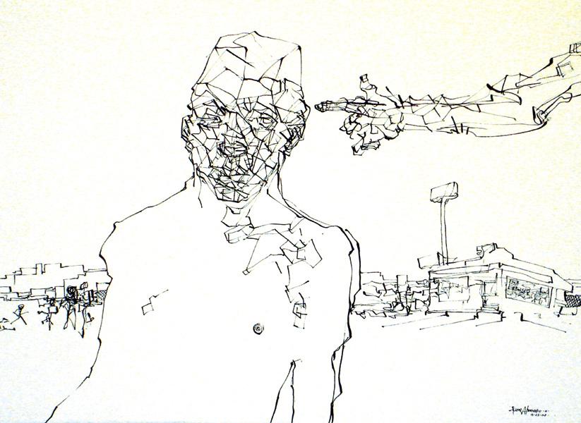 """Franquicia"" tinta china, 38x28 cm"