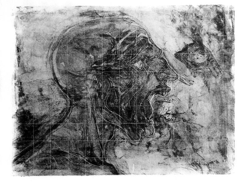 """""""Grito en diagrama"""" litografia sobre mármol mexicano, 3 pruebas únicas, 38x57cm, 2004"""