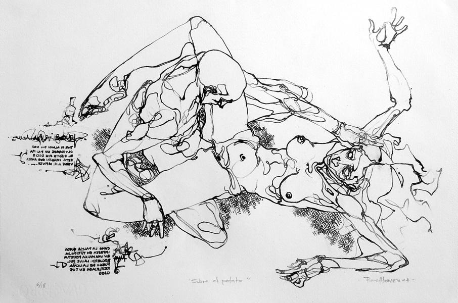 """""""Sobre el petate"""" litografia, 38x57cm, 2004"""