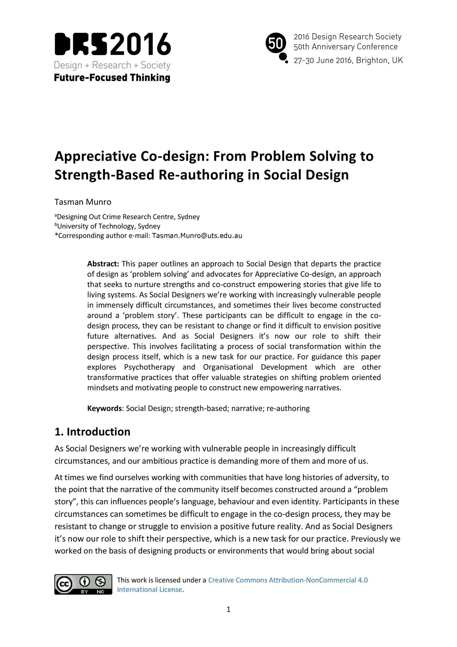 Appreciative Co Design From Problem Solving To Strength Based Re Authoring In Social Design Drs2016