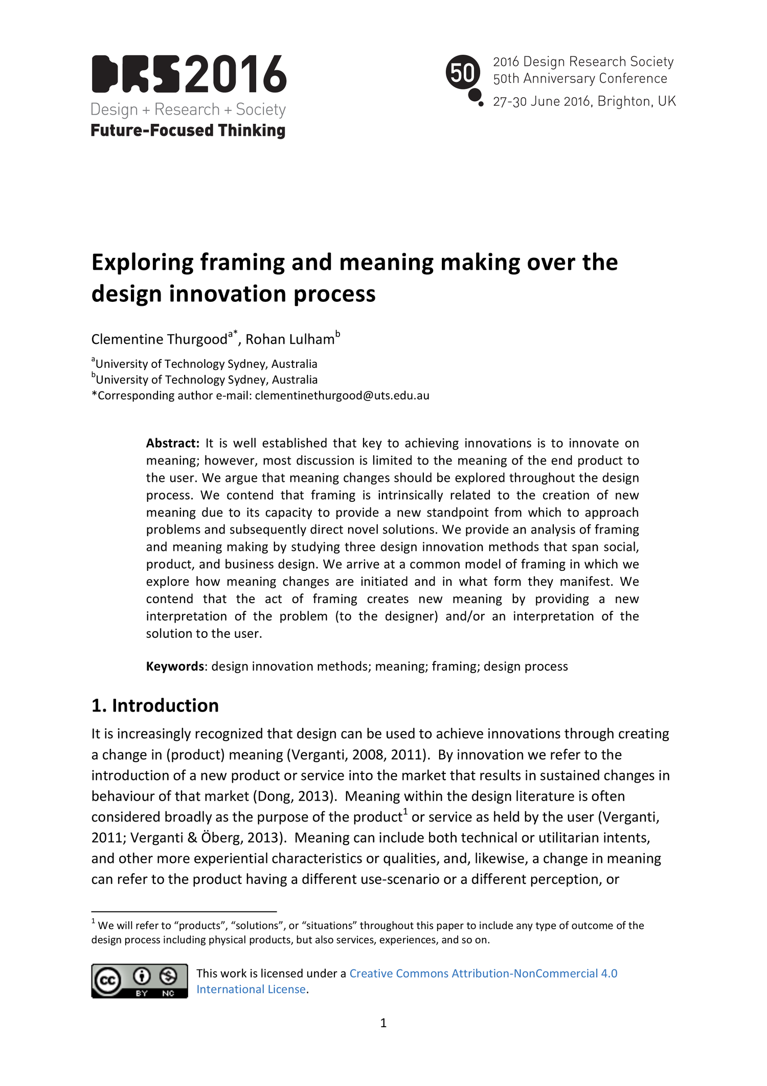 Exploring Framing And Meaning Making Over The Design Innovation Process Drs2016