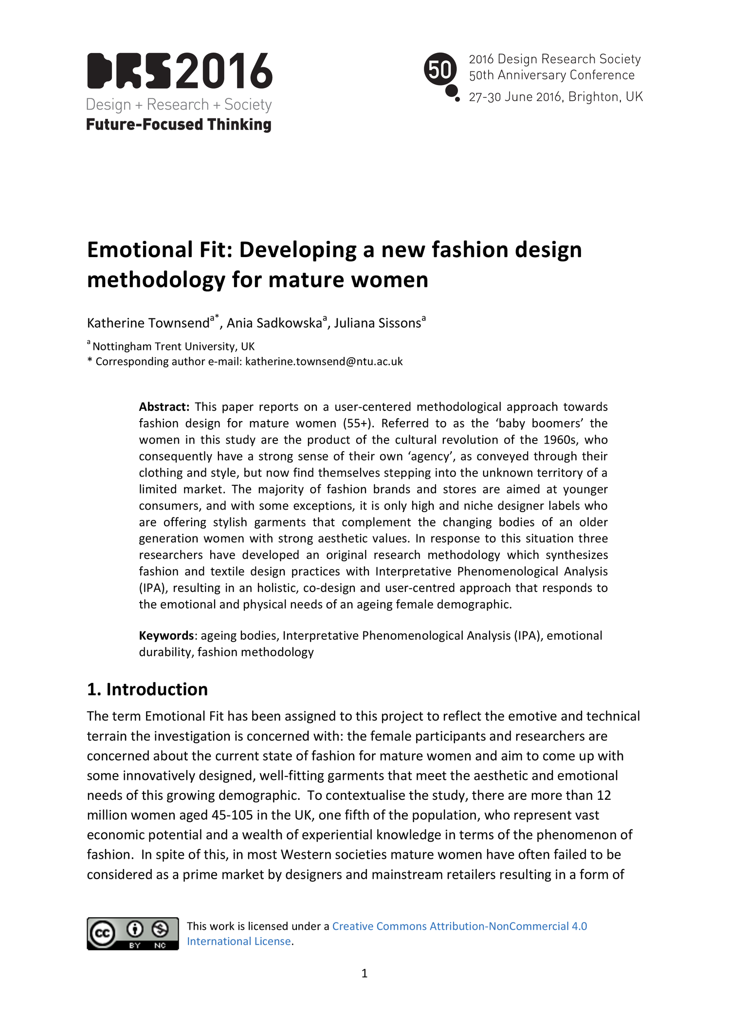 Emotional Fit Developing A New Fashion Design Methodology For Mature Women Drs2016