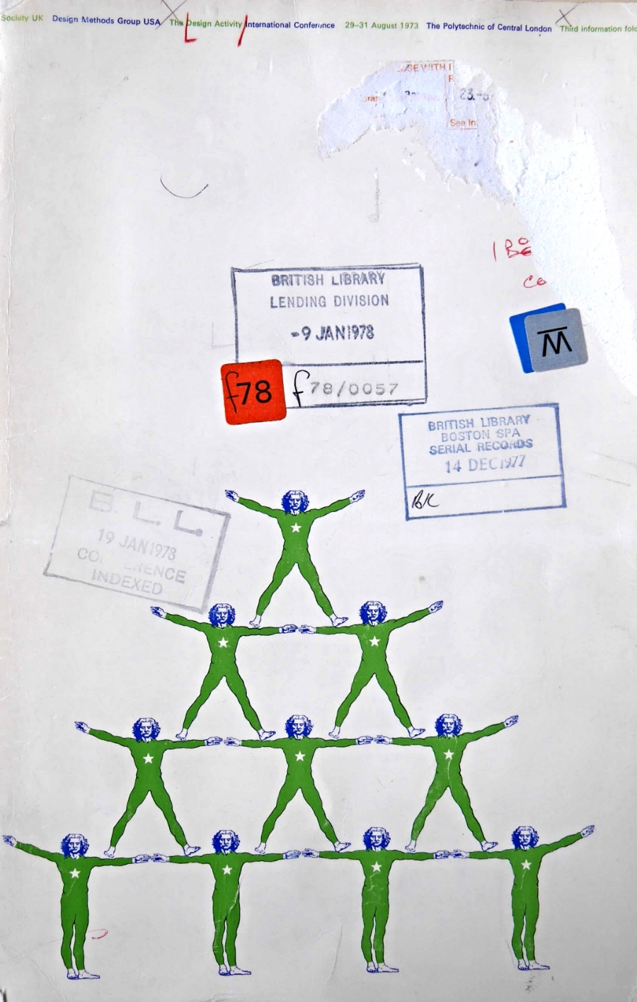 """The cover of the """"Third Information Folder"""" of the DRS/DMG Design Activity International Conference, 29-31 August 1973. Not many copies of this folder appear to have survived. A """"Second Information Folder"""" has the same motif as a tightrope walker, in blue, holding an umbrella. There may have been a """"First Information Folder"""" but this is as yet unseen. A poster for the conference has a juggler (in red)"""