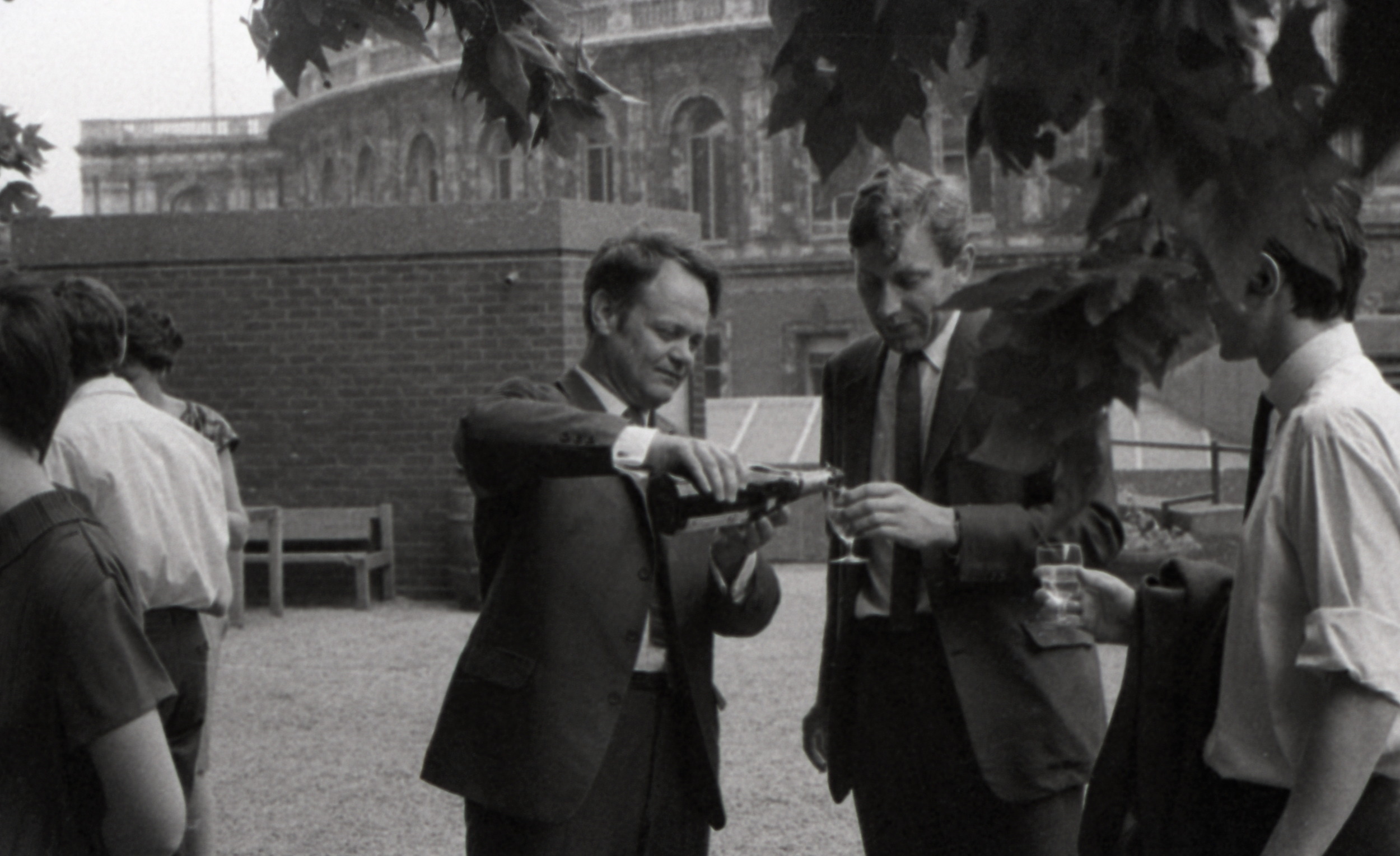Archer celebrating the award of his Doctorate on the roof of the Royal College of Art, probably in 1968. From the Agnew Archive, Royal College of Art, London.