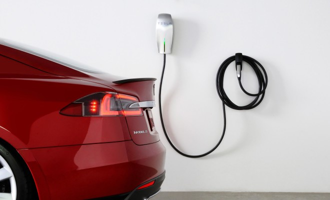 Tesla Wall Connector with Red Model S