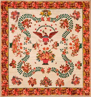 """Image: Elizabeth Welsh (American), Medallion Quilt, circa 1830. Cotton, 110.5"""" x 109"""". Brooklyn Museum, Gift of The Roebling Society, 78.36. Brooklyn Museum photograph (Gavin Ashworth, photographer), 2012"""