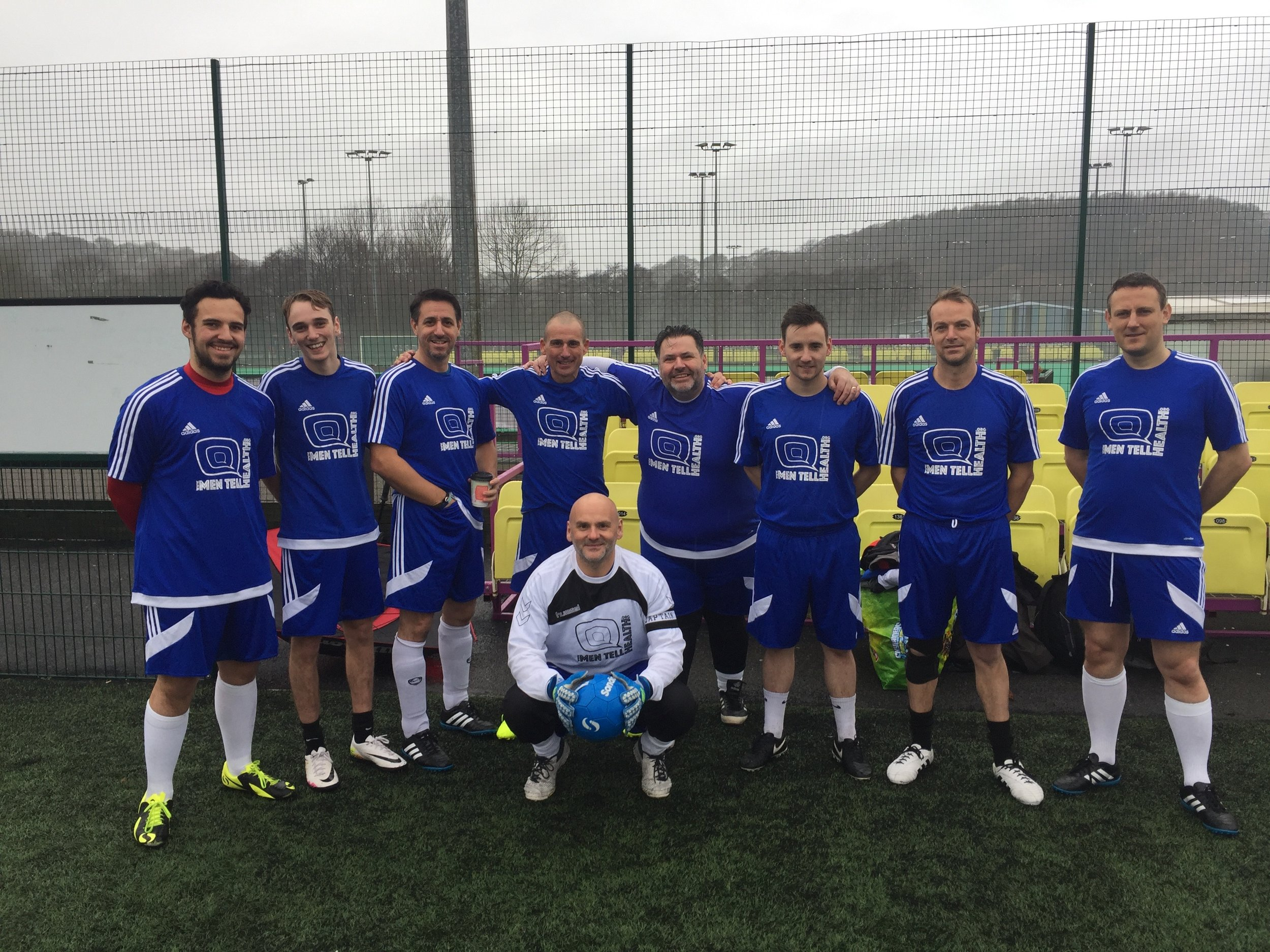 The largest squad ever assembled... I mean in numbers, not girth ;-) L-R James  'Cesc Fabregas' Doppelgänger' Skinner, Callum  'I'm Too Good To Wear the Official Socks' Bendelow, Gavin  'Buster The Dog Sucks..but what's happening with your hand?'  Dawson, Peter  'Yellow Flash'  Burgess, Richard  'Just squatting, not having a poo' Bendelow, Gary  'Yes, he's wearing leggings'  Pollard, Liam  'Not That One, The Other One'  Bendelow, James  'New Dad'  Wolsey,Gareth  'Fig Roll'  Cooper.