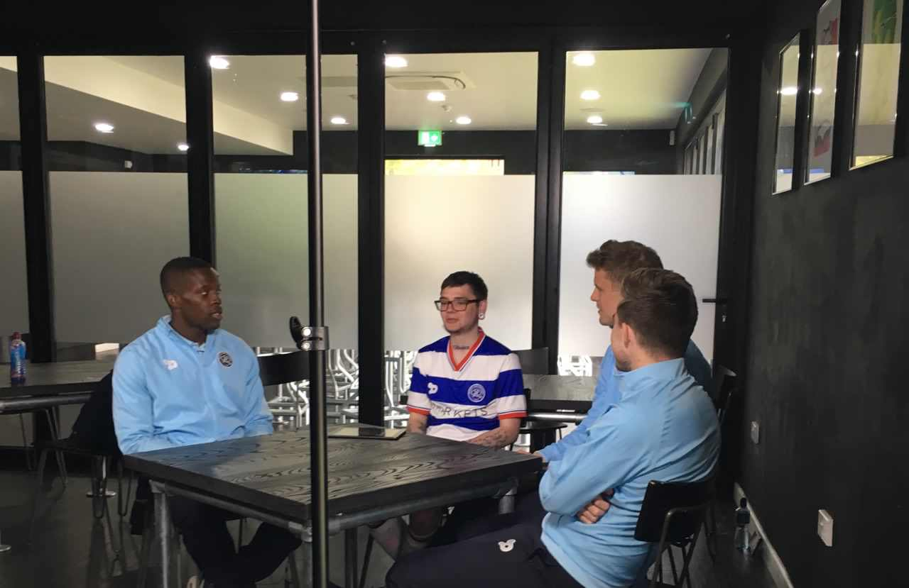 James speaking with the QPR first team.