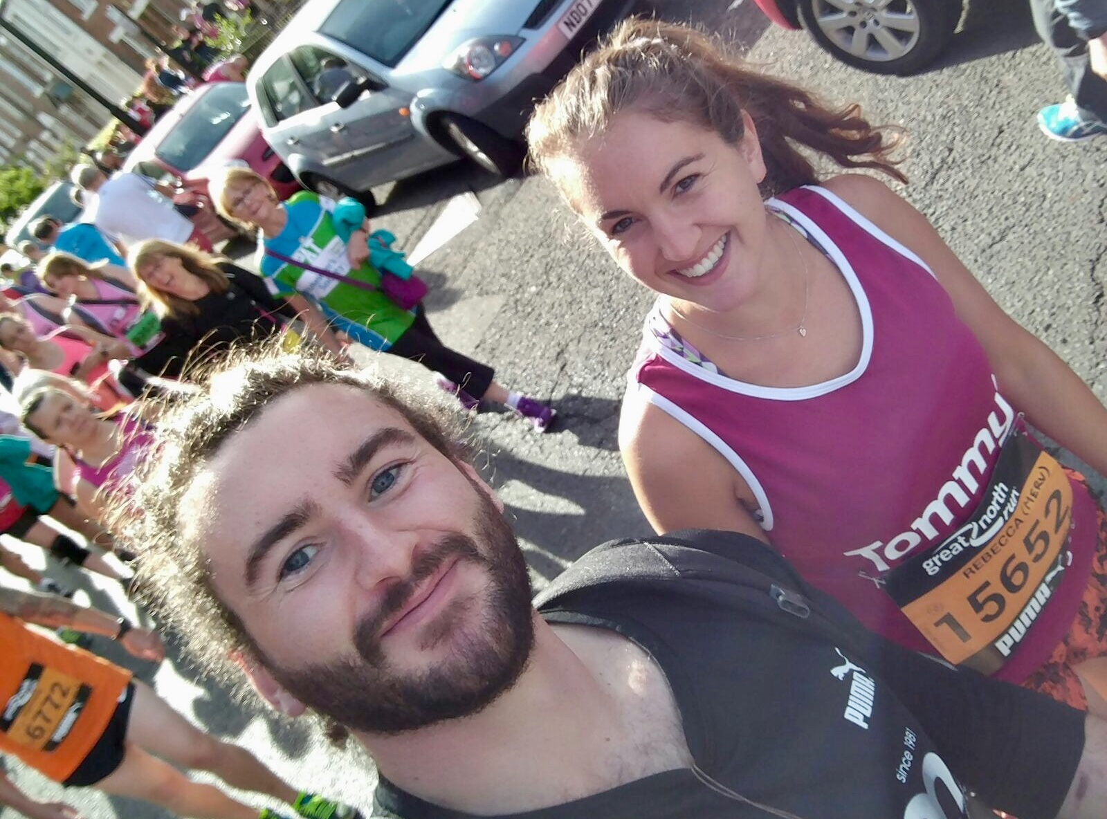 Dan and Rebecca running the Great North Run together. Dan decided to do it in Converse trainers in which he'd barely ran a mile before!! He was clearly mad, but they had a great day. That was the last day Rebecca saw him, so, as you can Imagine, the photo means a lot to her.
