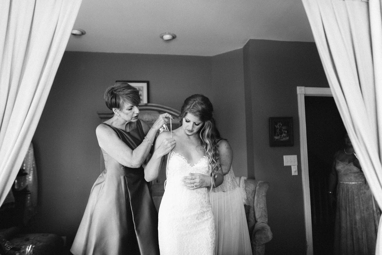 Her dress was the perfect sweetheart a-line, strapped gown