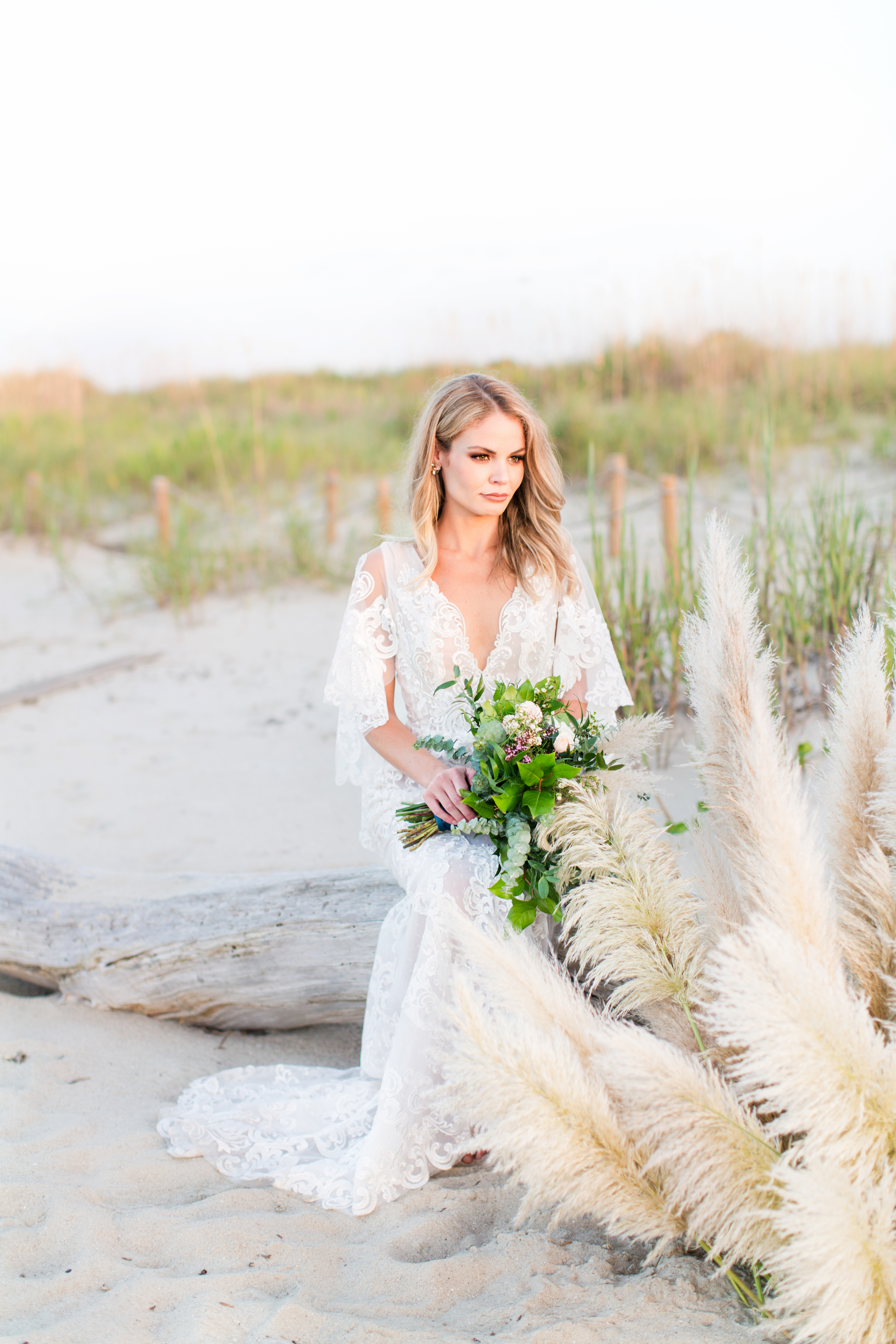 HAIR AND MAKEUP DEETS: We wanted to keep the vibe feeling soft. Pretty. Enhanced but not over-done! We opted for a signature blow out on our bride, full airbrush makeup- soft contour (more highlight!), and a soft rust/ bronze smokey eye.